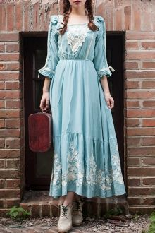 Floral Embroidered 3/4 Sleeve Maxi Dress $34.99