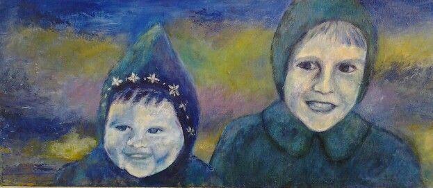 Mieke en Martie, 1953, acryl op doek