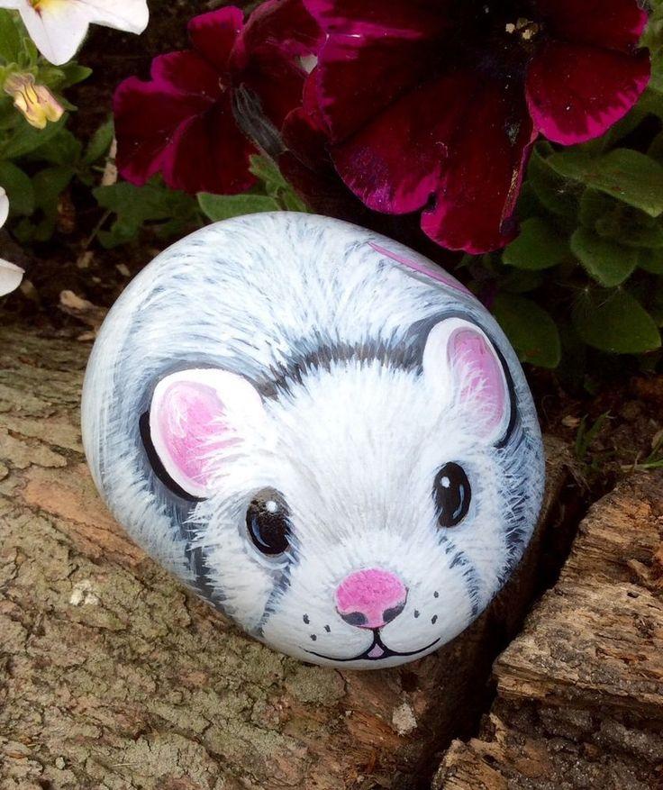 painted pebble pet mouse garden rock art                                                                                                                                                                                 More
