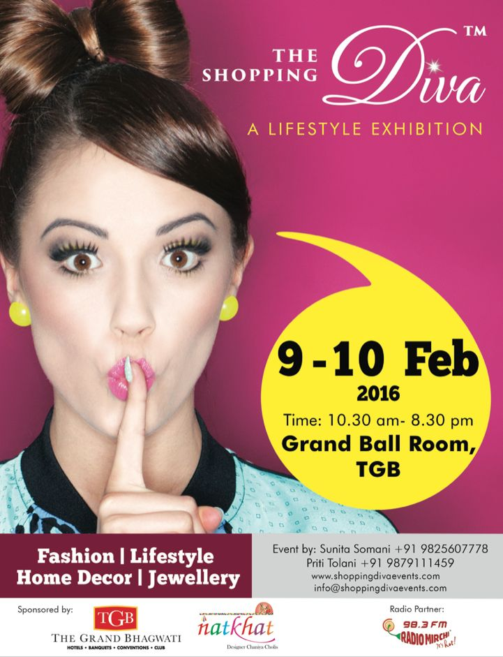 """Exactly a month for The Most Awaited Lifestyle Exhibition """" The Shopping Diva"""" showcasing more than 75 designers from all over india with their latest designs So save the dates 9-10 Feb @ hotel the grand Bhagwati ahmedabad"""