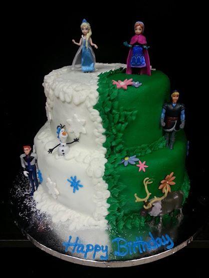 Frozen Cake Half Elsa Half Anna Two Tier Cake Disney