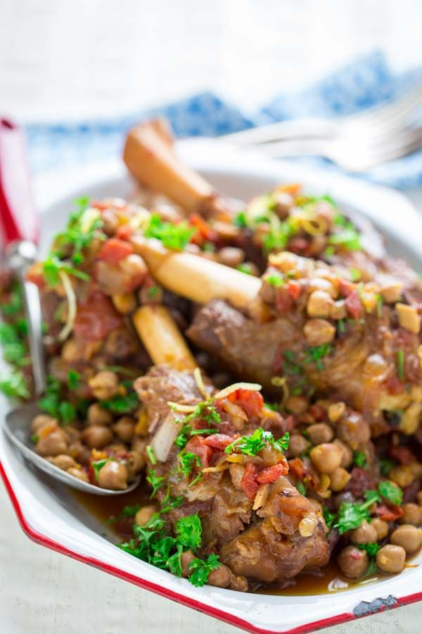Slow Cooker Moroccan Lamb Shanks with Chickpeas, lemon and parsley. by Katie Webster on healthyseasonalrecipes.com