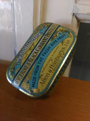 Oud Antiek Blik The Allenburys Glycerine & Black Current Pastilles 1930