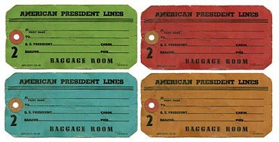 Vintage Baggage/Luggage Tags: Free Digital Images (lots of nice vintage printables on this blog)