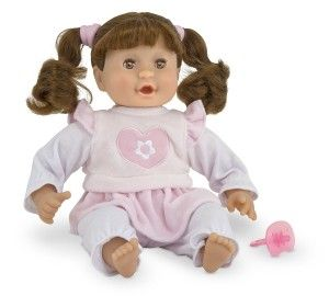 "Toys For 2 yr Old Girls: Melissa & Doug Brianna - 12"" Doll The doll has a lot of thick, shiny, soft and beautiful hair. She smells good has a sweet face.  Brianna can suck her thumb or her included pacifier. http://bit.ly/1K0j0FI"