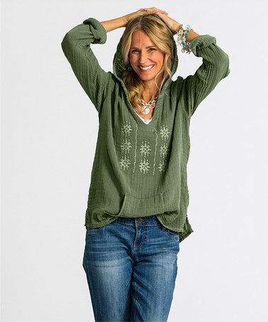 I'm really jonesing for a pretty moss-colored hoody like this one for this Fall.  I would love to find something like this in one of my fixes!  #stitchfix Loving this Moss Beach Bound Hoodie on #zulily! #zulilyfinds