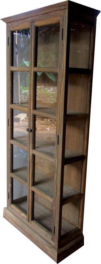 Teak Recycled Oud Hout Vitrinekast / Buffetkast met 2 deuren - Teakhouten Meubelen en Landelijke tafels,kasten en tv-meubels|