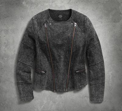 Women's Denim Look Knit Biker Jacket