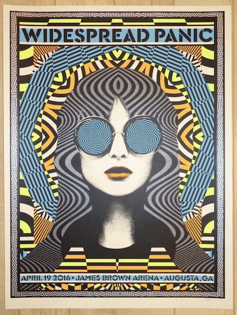 """Widespread Panic - silkscreen concert poster (click image for more detail) Artist: Nate Duval Venue: James Brown Arena Location: Augusta, GA Concert Date: 4/19/2016 Size: 18"""" x 24"""" Edition: 100; signe"""