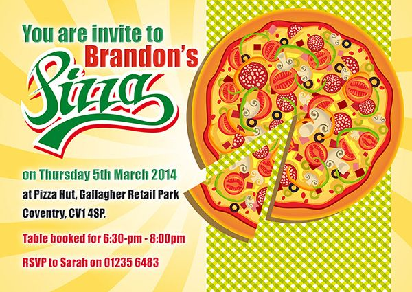 A personalised Pizza party invite perfect and unique to complement your childs birthday party theme. For a full range of different party theme invites visit www.justthecard.co.uk