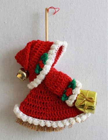 Picture of Holiday Mini Broom Dolls 2 Crochet Pattern Leaflet. Maggie's