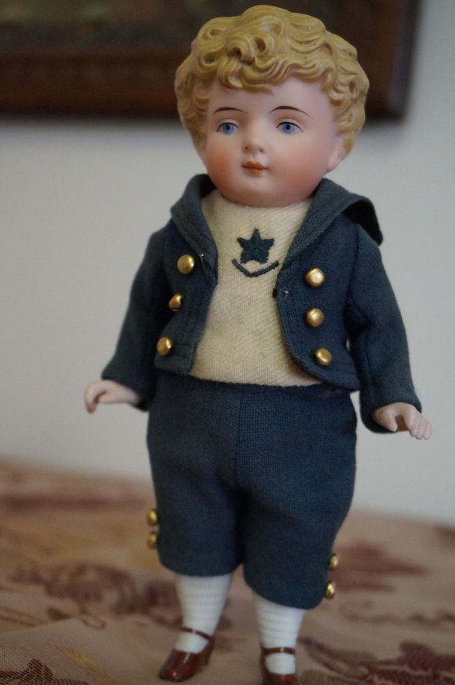 "7"" Antique Jointed German Elite Schoolboy Mignonette Doll"