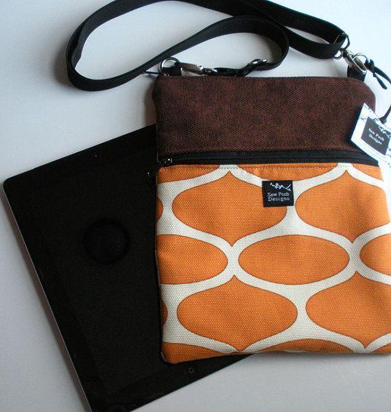 Orange Brown Geometric Faux Suede Fabric iPad by sewposhdesigns