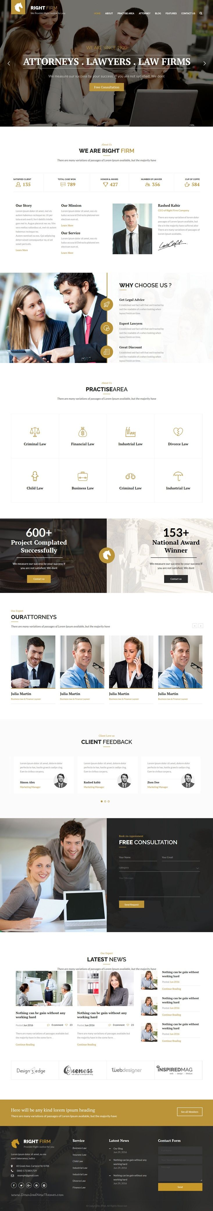 Right firm is a wonderful responsive 3in1 #WordPress theme for #advocate, legal advisers, #lawyers, attorneys, barristers or law firms website download now➩ https://themeforest.net/item/right-firm-law-firm-wordpress-theme/16922264?ref=Datasata