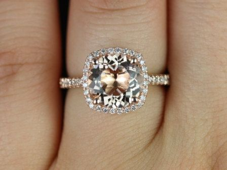 Barra Princess Size 14kt Rose Gold Morganite and Diamonds Cushion Halo Engagement Ring (Other metals and stone options available)