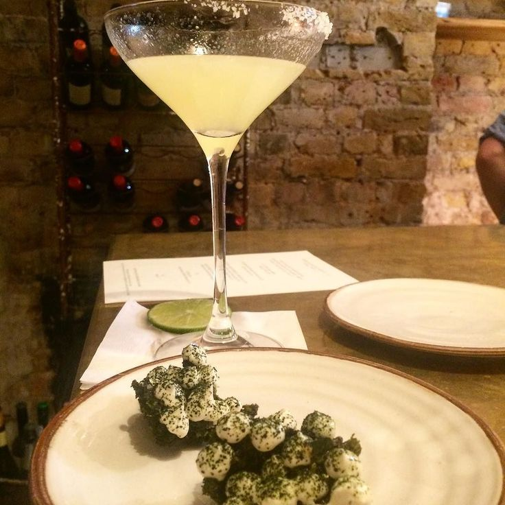 Mezcal Margaritas by Mez and roasted kale with smoked cod roe @perilladining - great start to an evening!