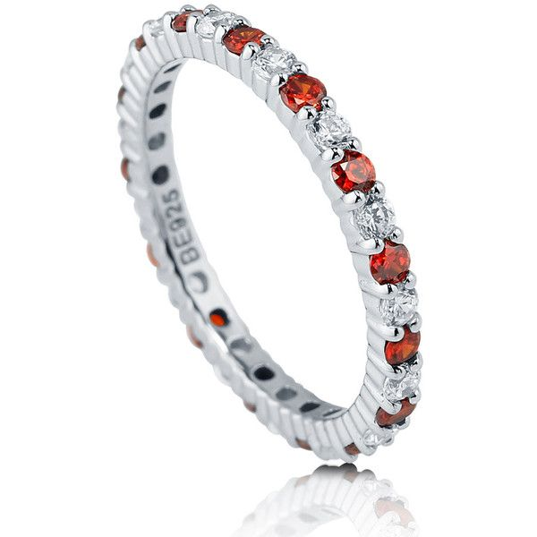 BERRICLE BERRICLE Sterling Silver Round Simulated Garnet CZ Wedding... ($45) ❤ liked on Polyvore featuring jewelry, rings, eternity ring, garnet, women's accessories, engagement rings, cz wedding rings, wedding band rings, sterling silver wedding rings e round cut engagement rings