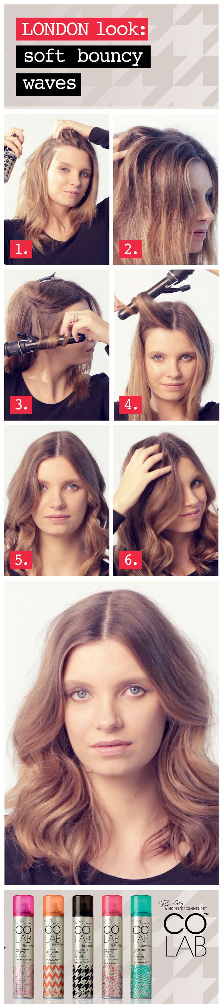 Learn how to create perfect soft, bouncy #waves with COLAB dry shampoo, featuring COLAB extreme volume #London.  Available at Superdrug, Feel Unique & Beauty Mart (UK),  Penneys (Ireland),  London Drugs, Lawtons Drugs & Pharmasave (Canada), Jean Coutu & select Uniprix, Brunet & Familiprix (Quebec).  www.colab-hair.com  #Hair #Beauty #HairTutorial #HowTo #RuthCrilly #ModelRecommends #ColabHairConvert