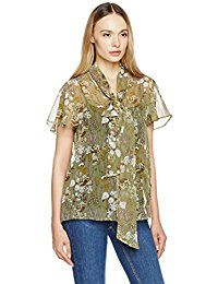 New Essentialist Women's Printed Short-Sleeved Bow-Tie Transparent Shirt Top online. Find the perfect Lucky Brand Tops-Tees from top store. Sku JFFU35547UEDY27938