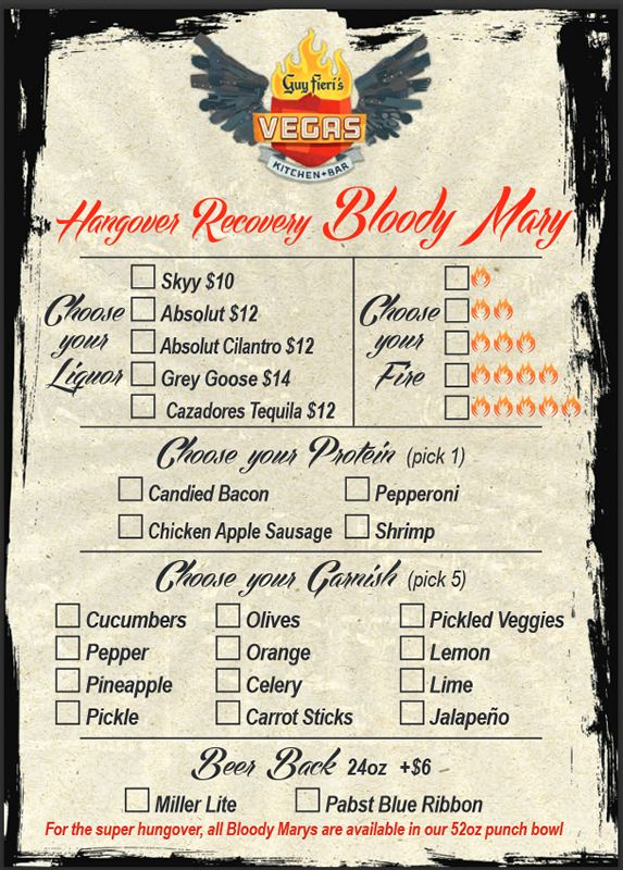 Guy Fieri Vegas Blood Mary Menu