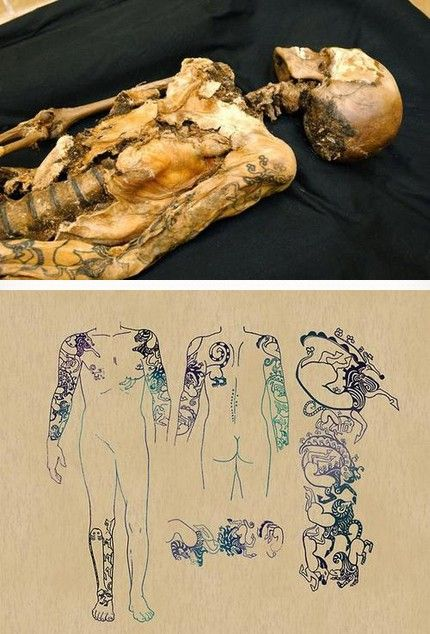 The 2500-year-old mummified body of the young woman, believed to be between 25 and 28 years old, was found in Siberia with some amazing tattoos.
