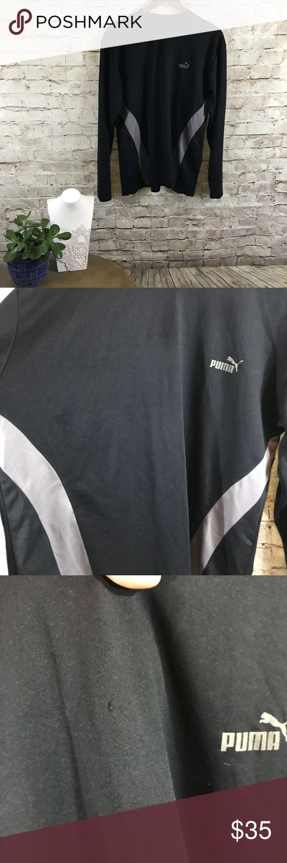 Puma long sleeve activewear tee In excellent condition. Black and grey long sleeve undershirt . Size Large Puma Shirts Tees - Long Sleeve