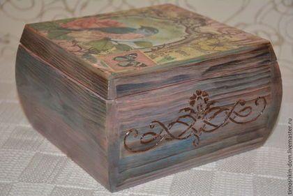 Шкатулка деревянная - коричневый,шкатулка декупаж,шкатулка для украшений