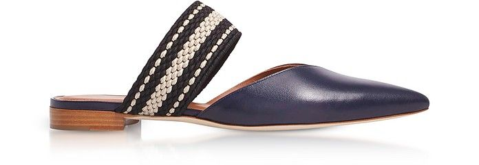 MALONE SOULIERS | Hannah Navy Blue Nappa Leather Flat Mules w/Black-Beige Elastic Band #Shoes #MALONE SOULIERS