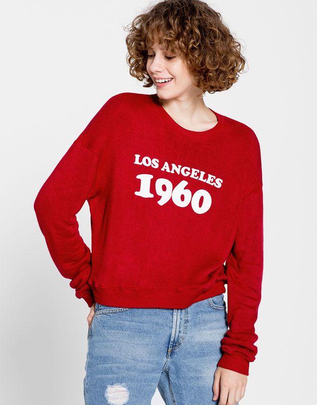 Pull&Bear - mujer - ropa - sudaderas - sudadera texto - rojo vivo - 09591300-I2016