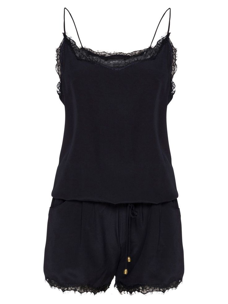 A relaxed fit, the silk crepe de chine playsuit is a cool and smart approach to this summer's trends. Add a leather jacket and boots for a glam rock look or a white blazer and wedges for sophistication.   Features: - Elasticised waistband - Lace trimming - Side pockets - Made from Silk Crepe De Chine