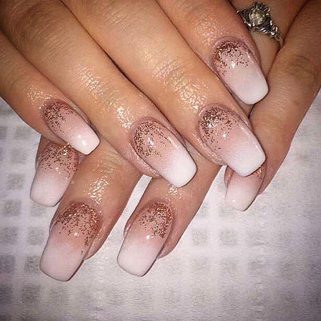 ombre gel nails rose gold