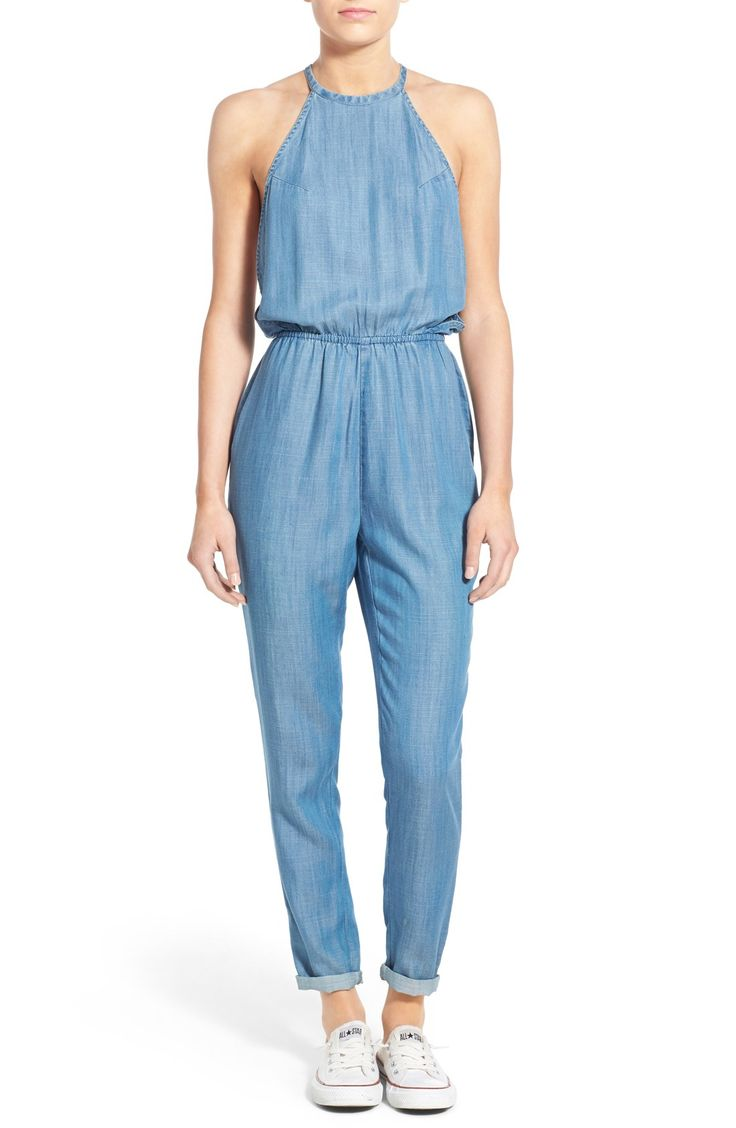 RVCA 'Be About It' Halter Chambray Jumpsuit
