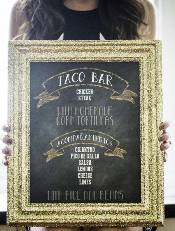 Super awesome DIY Menu board for a Taco Bar! Image: Ashley dePencier Photography // event design: Mint Design