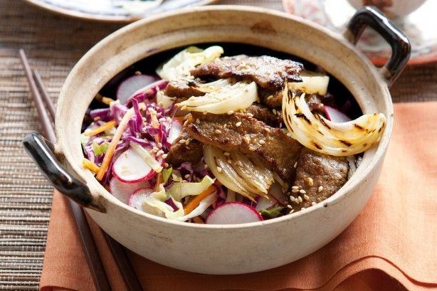 Also know as bulgogi, this marinated beef recipe is typically made from thinly sliced sirloin or other prime cuts.