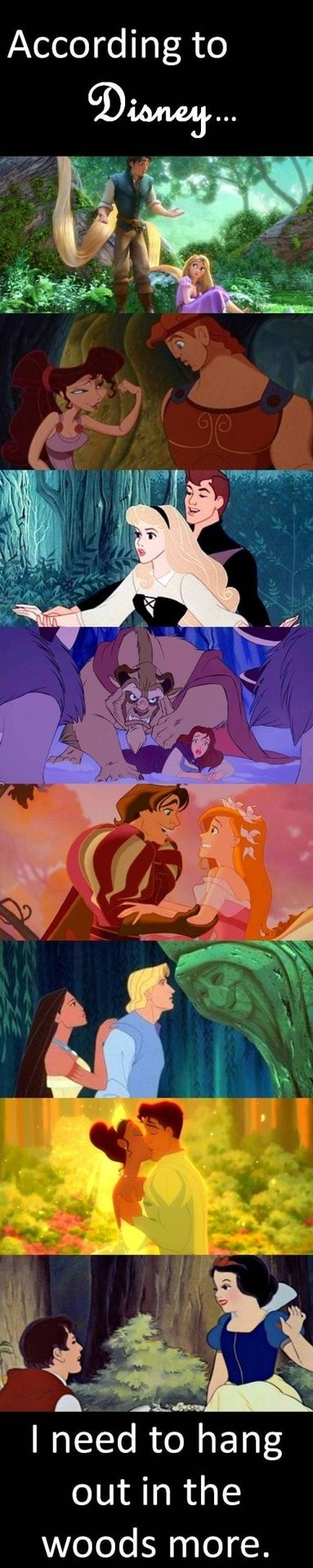 According to Disney, one thing is clear: Romance can be found in the woods, not in the cities except, of course, for Lady and the Tramp.
