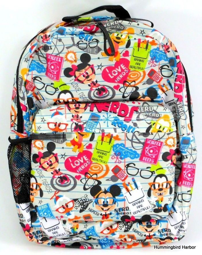 Disney Nerds Mickey Minnie Mouse Friends Glasses Backpack Brains are beautiful | eBay
