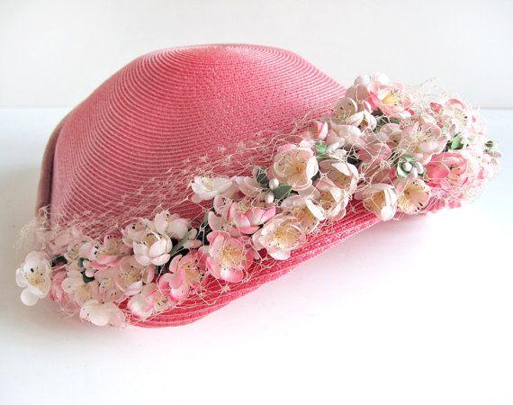 Vintage honeysuckle pink ladies straw hat with by modernpoetry, $42.00