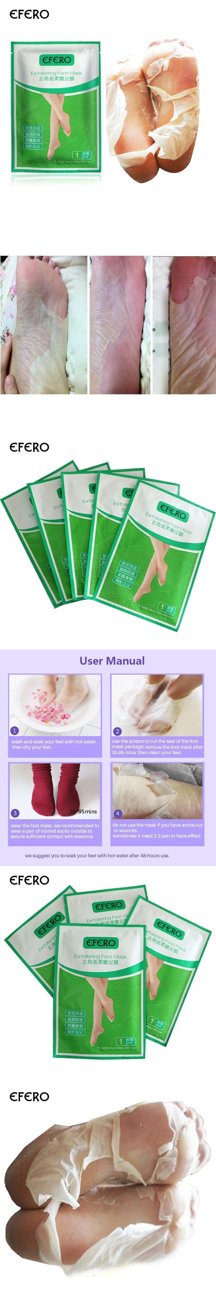 2Pack efero Feet Mask Baby Foot Exfoliation Sock Peeling Exfoliating Foot Mask Remove Dead Skin Cuticle Foot Care Pedicure Socks