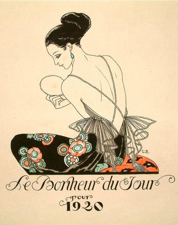 Georges Barbier, (1882-1932) Le Bonheur du Jour, Cover 1920 Colour Pochoir