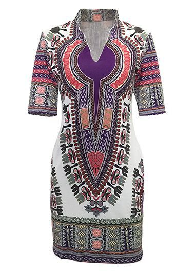 Split Neck Short Sleeve Dashiki Mini Dress on sale only US$22.92 now, buy cheap Split Neck Short Sleeve Dashiki Mini Dress at lulugal.com