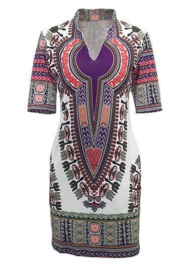 Split Neck Short Sleeve Dashiki Mini Dress on sale only US$22.92 now, buy cheap Split Neck Short Sleeve Dashiki Mini Dress at lulugal.com