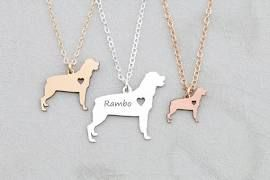 FREE SHIP * Rottweiler Necklace * Silver Dog * Rose Gold Pet Charm ...