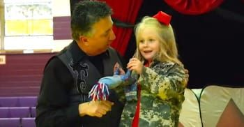 Army Soldiers Surprise Their Daughter At A School Magic Show