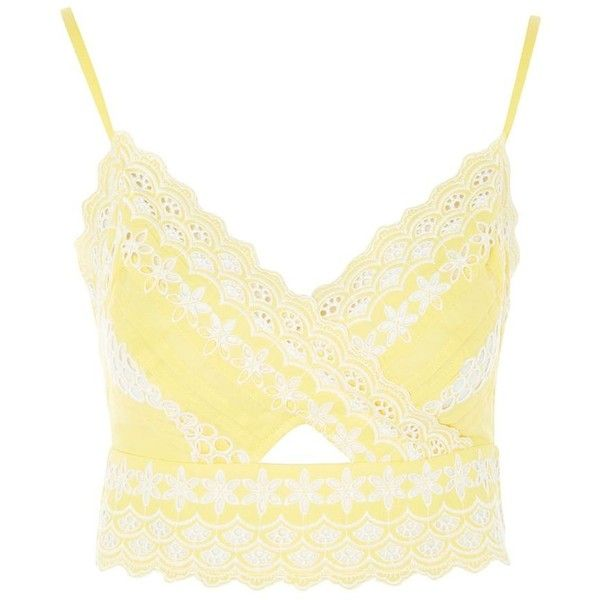 TopShop Cutwork Broderie Bralet ($50) ❤ liked on Polyvore featuring tops, topshop, yellow, cropped tops, bralet tops, spaghetti-strap tops, white tops and bralet crop top