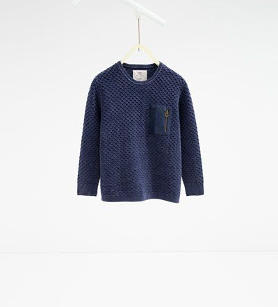 Image 1 of Textured sweater with pocket from Zara