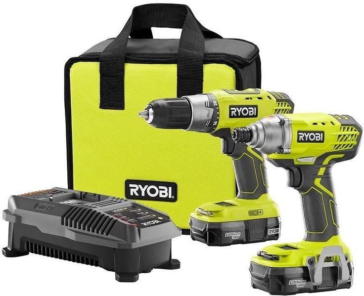 Ryobi P1832 18-Volt ONE+ Cordless Drill/Driver and Impact Driver Power Tool Kit #Ryobi
