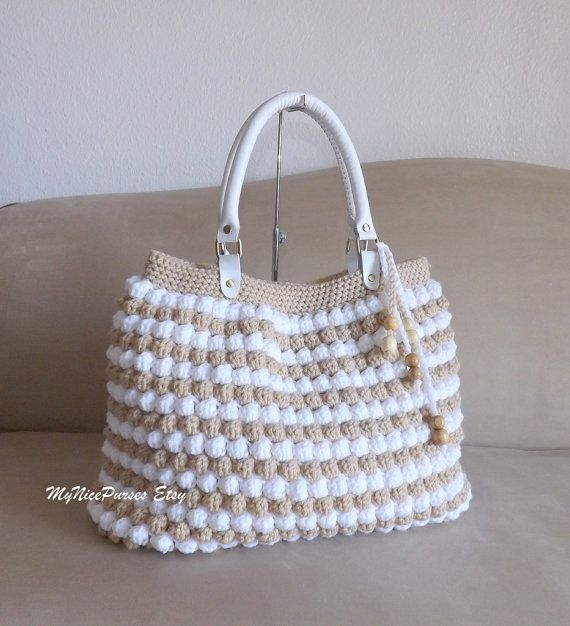 ... crochet summer tote, beaded bag, crochet purse, fashion handbag 2014