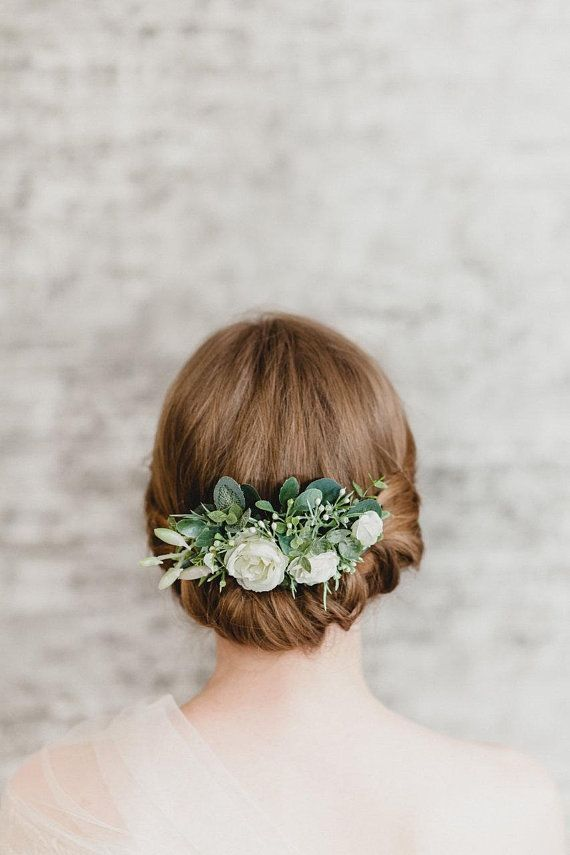 Flower Comb Rose Hairpiece Comb Floral Hair Comb Back Wedding Hair Piece Greenery Wedding Comb Rustic Flower Hair Piece Bridal Comb Woodland