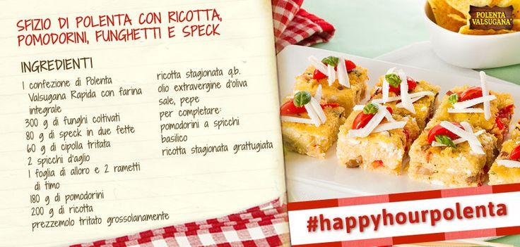 Lo dice già il nome: questa ricetta è davvero sfiziosa! Arricchisci la polenta con #funghi, #speck e #ricotta e assaggia un tripudio di bontà. #happyhourpolenta http://bit.ly/1iMvjLh