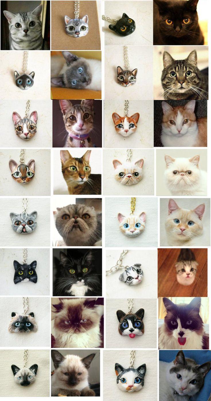 Collar Retrato gato o un broche del retrato de su por FlowerLandShop